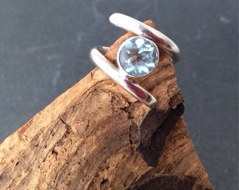Sale Sterling silver blue topaz handmade ring, hallmarked in Edinburgh