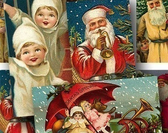 Set of TWO Vintage Christmas Digital Collage Sheets 1x2 Inch Domino Tile Size Santa Claus Sleigh Toys Children Holidays piddix 682 & 683