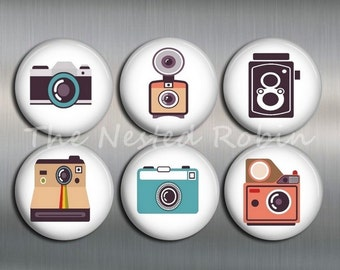 CAMERA MAGNETS with gift pouch, Six Magnets - 1 inch or 1.25