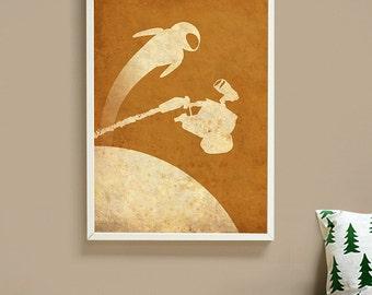 Pixar Wall-E Vintage Minimalist Movie Poster Print