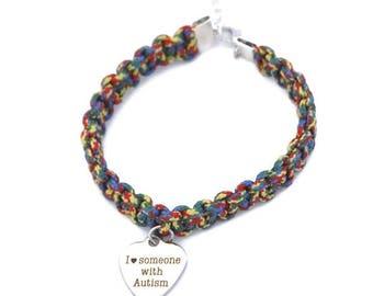 Autism Heart Bracelet, I Love Someone, Autism Mom Gift, Autism Awareness Bracelet, Autism Bracelet, Autism Jewelry, Silver Heart Charm