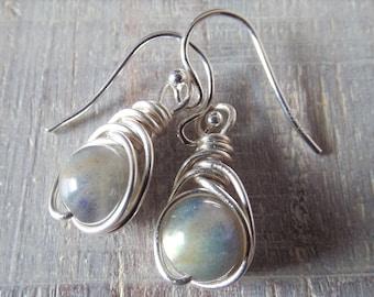 Labradorite Earrings Wire Wrap Earrings Gray Stone Earrings Gemstone Dangle Earrings Beaded Earrings Gift for Her Grey Earrings Silver Wrap
