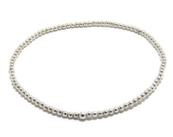 2mm Silver Ball Bead Bracelet tiny bead bracelet silver stretch small bead bracelet layering bead bracelet minimal Sterling silver bracelet