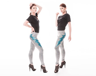 Double Lightning Bolt Leggings in Silver, Holographic Clothing, Festival Leggings, Stage Wear, Aerial Silks, Dancewear, EDM Wear, LENA QUIST