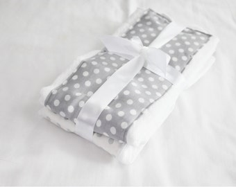 Grey and White Polka Dot Burp Cloths - Set of 2