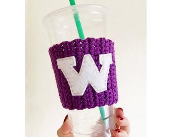 UW Huskies Coffee Cozy | Knitted Coffee Cozy | Huskies | University of Washington