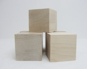 """2 1/2 inch wooden cube, 2 1/2"""" wooden block, 2.5 inch unfinished wood cube, unfinished wood block Choose your quantity"""
