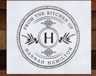 Round From the Kitchen of Stamp, Custom Eco Mount Rubber Address Stamp - Tuscan Kitchen
