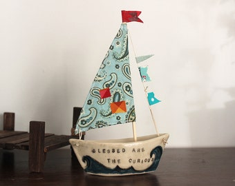 Sailboats - ceramic with fabric sail and flags