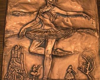 Vintage Copper  Embossed Ballerina