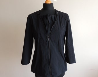 FREE SHIPPING - Jil Sander Black 3/4 sleeve pullover blouse/ jacket with full zipper, size 42