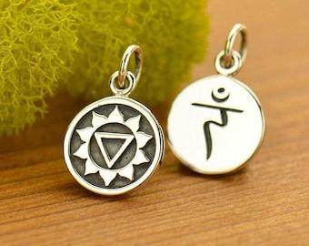 Solar Plexus Chakra Charm Sterling Silver Solar Plexus Charm, Chakra Symbol Charm, Solar Plexus Pendant, Yoga Charms, 16.5x10mm