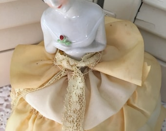 Antique Half Doll Pin Cushion ~ Porcelain Half Doll ~ Made in Germany ~ Collectible Dolls  ~ Unique Gift ~ Ruffeled Dress ~ Pin Cushion