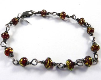 Free Shipping for this Handmade Red Micro Dichro Glass Bead Wire Wrapped Bracelet