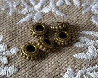 Set of 5 bronze saucer beads flat 8x3mm