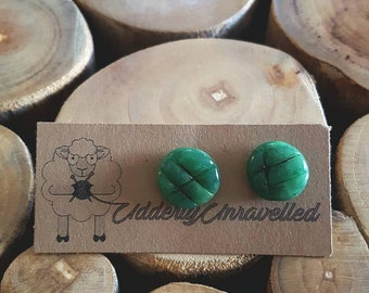 Jade green and black lined polymer clay stud earrings with nickle free posts, great for any occasion