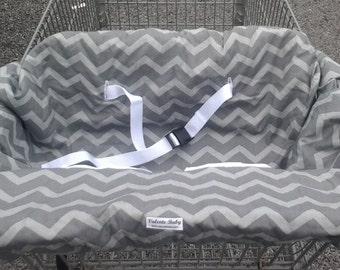 Grey Chevron Shopping Cart Cover - Grey High Chair Cover - Neutral Shopping Cart Cover - Baby Shower - Twin - Double - Buggy Cover VB0021