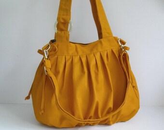 Sale - Mustard Canvas Pumpkin Bag, shoulder bag, tote, purse, messenger bag, cross body bag, stylish, unique