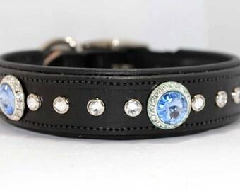 "16-19"" Luxury Dog Collar / Female Dog Collar / Padded Leather Dog Collar / Swarovski Crystal"