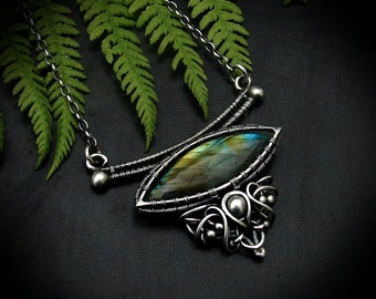 Necklace with labradorite, silver, wire-wrapping