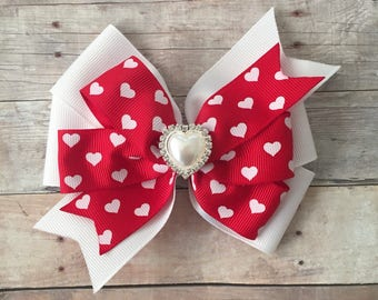 Hearts Pinwheel Bow, Hearts Hair Bow, Valentine's Day Bow