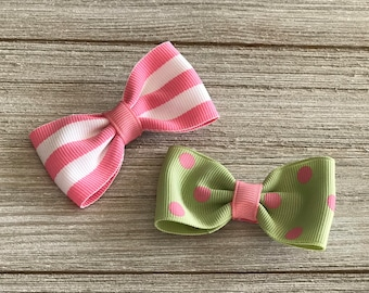 Two Tuxedo Hair Bows - Bow Tie Hair Bows - Pink and Green