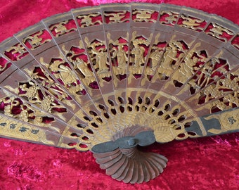 Vintage, Chinese wooden fan.  Hand carved, perfect for a wall hanging