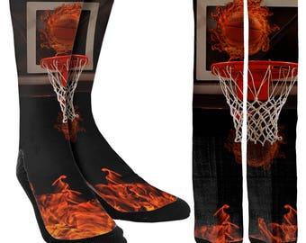 Flaming Basketball Crew Socks - Crazy Basketball Socks - Cool Basketball Socks - Mens Socks - Womens Socks - Cool Socks  - FREE Shipping A78