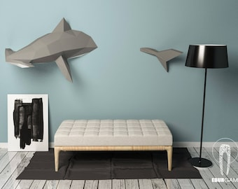 Hammerhead Shark Papercraft, 3D Papercraft - Build Your Own Low Poly Paper Sculpture  PDF Download DIY gift, Wall Decor for home - Eburgami
