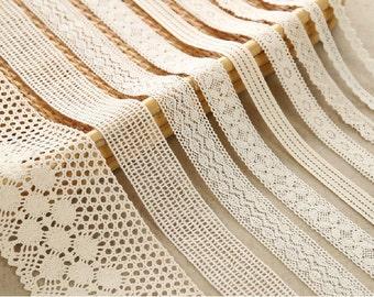 9 types Cotton Lace Fabric Trim - Beige Cream Floral Crochet Cotton Net Lace Ribbon Trim-- 1 Yard