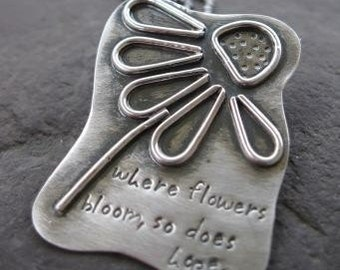 sterling silver line art daisy pendant . (( Where Flowers Bloom, So Does Hope )) . metalsmith jewelry . silversmith pendant . READY TO SHIP