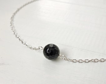 Onyx stone necklace black onyx necklace minimalist chain necklace chain choker necklace for women