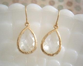 Clear Crystal Earrings, Gold Earrings, Teardrop Earrings, Best Friend Birthday, Bridesmaid Earrings, April Birthstone
