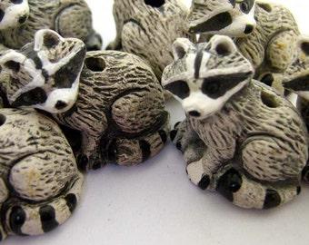 10 Large Raccoon Beads - LG68