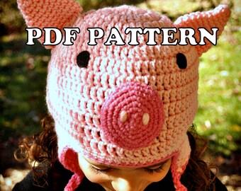 PDF PATTERN - Crochet Porky Piglet Hat