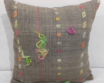 Kilim Pillow, 18 x18 Inches, Hand Made, Cushion Cover, Throw Pillow, Decorative Kilim Pillow, Tribal Pillow, Moroccan, Aztec, Anatolian