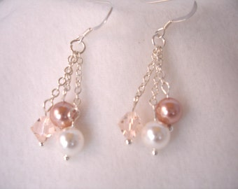 Pearl and crystal earrings, three chain dangle earrings, sterling silver