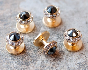 Crystal shirt studs SET OF 5, silver or gold finish, 25 colors.  Swarovski crystal shirt studs, Tuxedo shirt studs, Groom accessories
