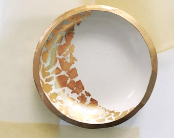 GOLD LEAF CRESCENT // Handmade Polymer Clay Jewelry Dish, Ring Dish, Trinket Dish, Ring Holder, gifts for her