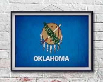 Oklahoma Flag Print, Oklahoma Poster,  Oklahoma Flag Art, Oklahoma Art Print, Wall Art, State Poster, Home Decor [PP038-P]