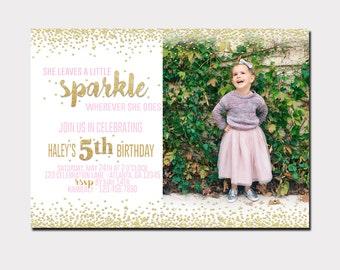 She Leaves A Little Sparkle Birthday Invitation | First Birthday | Photo Invitation