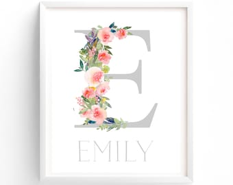 Letter and Name Monogram.  Nursery Monogram, Nursery Printable, Monogram Print