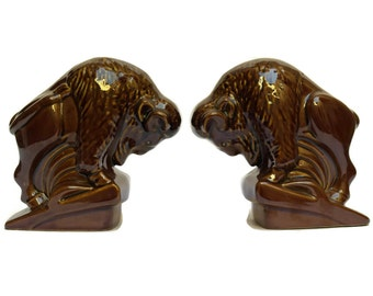 Ceramic Bison Bookends. Bisons Sculpture. Hunting Decor. Gifts for Him. Man Cave and Office Decor.