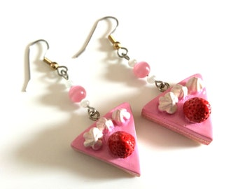 Earrings, strawberry, resin, pink pearls and white cat's eye.
