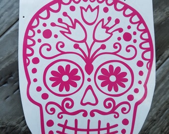 Hot Pink Sugar Skull Vinyl Decal