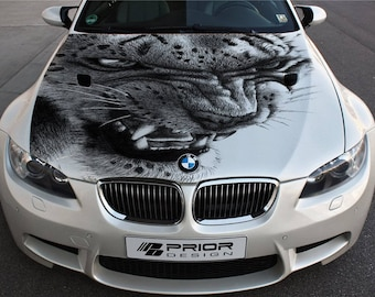 Vinyl Car Hood Full Color Wrap Graphics Decal Snow Leopard Wild Cat Fangs Sticker