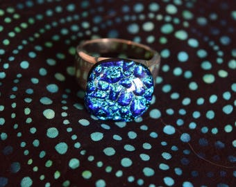 Blue Bubbles- Fused Glass Ring