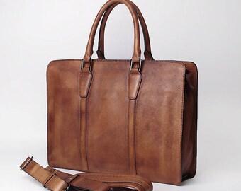 Mens Gift, Crossbody Bag For Men, Brown Leather Handbag, Men's Briefcase, Leather Briefcase, Laptop Briefcase, 14 inch Laptop Bag