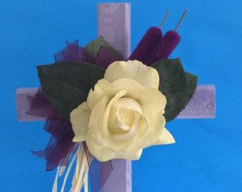 Cemetery cross, grave decoration, memorial cross,Floral Memorial, grave marker, cemetery flowers, memorial flowers