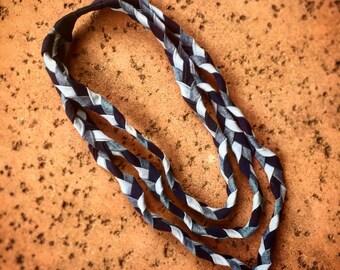 Vintage handmade braided denim necklace